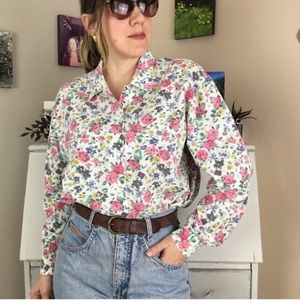 Vintage 80's White Pink Floral Button Front Shirt